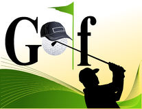 Golf players silhouettes Royalty Free Stock Photos