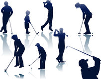 Golf players silhouettes Stock Photo