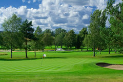 Golf playground. Swedish golf landscape on a sunny day in July Royalty Free Stock Photo