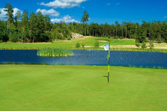 Golf playground. Swedish golf landscape on a sunny day in July Stock Photos