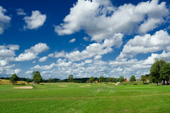 Golf playground. Swedish golf landscape on a sunny day under the impressive sky Royalty Free Stock Photography