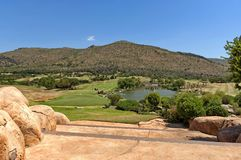 Golf playground and lake in Sun City Stock Photo