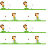 Golf playing boy. Illustration of a boy playing golf on a white background Stock Photography