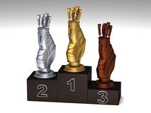 Golf podium. Golf dark wood podium with trophies on a white floor vector illustration
