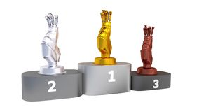 Golf Podium with Gold Silver and Bronze Trophy in Infinite Rotation. With White Background stock video footage