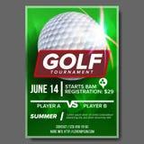 Golf Poster Vector. Banner Advertising. Sport Event Announcement. Ball. A4 Size. Announcement, Game, League Design vector illustration