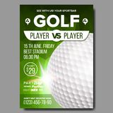 Golf Poster Vector. Sport Event Announcement. Banner Advertising. Professional League. Vertical Sport Invitation royalty free illustration