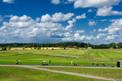 Golf practice range. Practice range on a golf course in Sweden Stock Photos