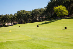 Golf practice. View of a beautiful golf practice stock images