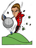 Golf pro super-star. Cartoon character of a young man tee-ing of on the green swinging his golf club Royalty Free Stock Photography