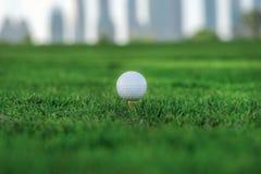 Golf profesional La pelota de golf está en la camiseta para una pelota de golf en el th Foto de archivo