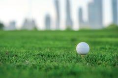 Golf profesional La pelota de golf está en la camiseta para una pelota de golf en el th Imágenes de archivo libres de regalías