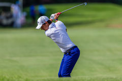 Golf Professional Matteo Manaserro Swinging Stock Photo