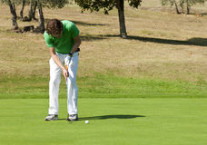 Golf Put. Golfer concentrating for a put on the green of a colf course Stock Photography