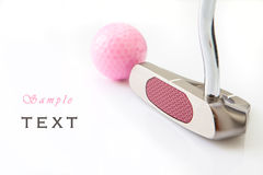 Golf putt. And pink ball in white background Stock Image