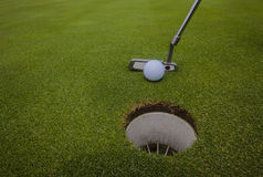 Golf Putter Ball Hole Royalty Free Stock Image