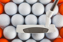 Golf putter and balls Stock Photos