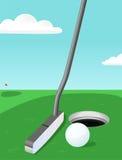 Golf: putter e sfera Immagini Stock