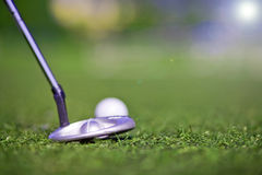 Golf putter play. Golf bat putter play close up Royalty Free Stock Image