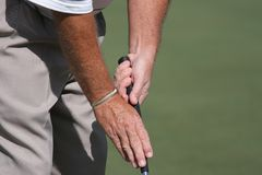 Golf putting grip special Stock Image