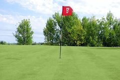 Golf red flag Royalty Free Stock Photography