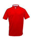 Golf red tee shirt with white collar on white background stock images