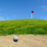 Golf on sand. Golf ball on sand space royalty free illustration