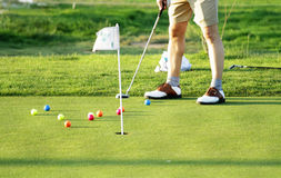 Golf scene. With the necessary accessories for your practice Royalty Free Stock Photography