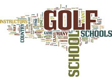 Golf School Word Cloud Concept. Golf School Text Background Word Cloud Concept Royalty Free Stock Images