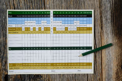 Golf Score Card Blank with Nobody Stock Photo