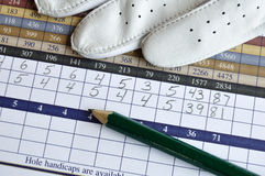 Golf Score Card with Glove and Green Pencil Royalty Free Stock Photo