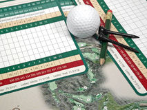 Golf Scorecards. A golfer's scorecard, pencil, tees, ball, and course book Stock Image