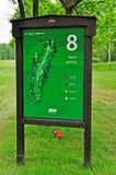 Golf, señal del agujero número ocho Imagen de archivo