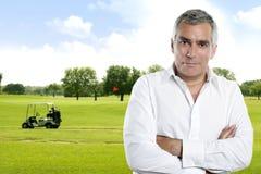 Golf senior golfer man portrait stock photo