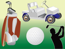 Golf set. Vector illustration of golf equipment Stock Photography