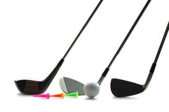 Golf set. Isolated golf set including wood, club, ball and tee Royalty Free Stock Photo