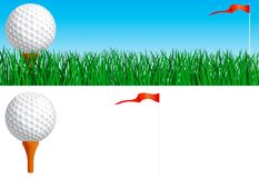 Golf set. Vector banner of Golf ball and flag on green grass and Golf ball and flag isolated on white background Stock Image