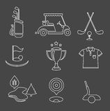 Golf set. Vector set of nine stylized golf icons Royalty Free Stock Photography