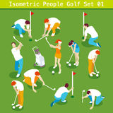 Golf Set 01 People Isometric. Sport Golf Players Set 01. Interacting People Unique Isometric Realistic Poses. NEW bright palette 3D Flat Vector Icon Collection Stock Photos