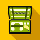 Golf set in suitcase flat icon Stock Images