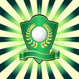 Golf shield. Theme over colorful striped background Stock Photo