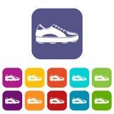 Golf shoe icons set flat Royalty Free Stock Image