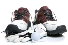 Golf shoes,Ball,Glove and Tee Royalty Free Stock Images