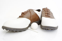 Golf shoes ball and tee Stock Image