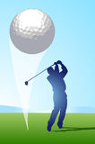Golf Shot. Golfer hitting ball toward the green Stock Photos