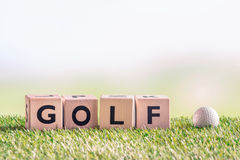 Golf sign with a golf ball. On green astro turf Royalty Free Stock Image