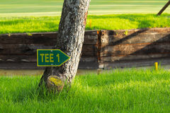 Golf sign. Pointing to the first tee Royalty Free Stock Photography