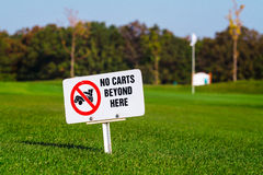 Golf signs on grass Royalty Free Stock Photography