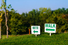 Golf signs on grass Royalty Free Stock Photo
