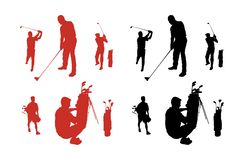 Golf Silhouettes Stock Image